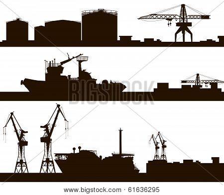 Harbor skyline silhouette