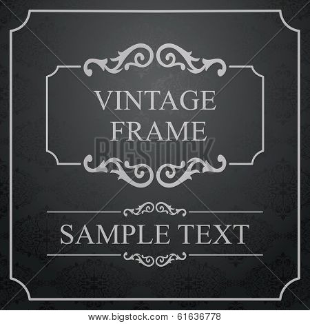 Vintage Frame with Ornamental round damask lace pattern. Space for text. Retro Background. Vector Il