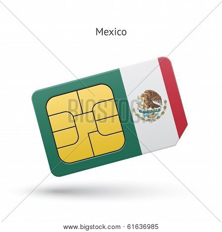 Mexico mobile phone sim card with flag.