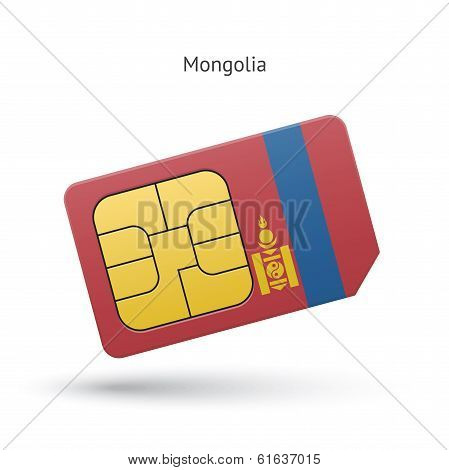 Mongolia mobile phone sim card with flag.