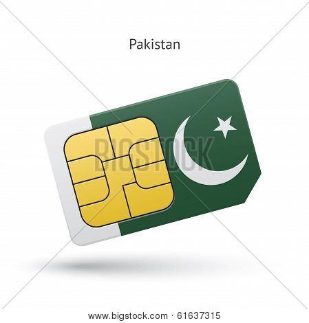 Pakistan mobile phone sim card with flag.