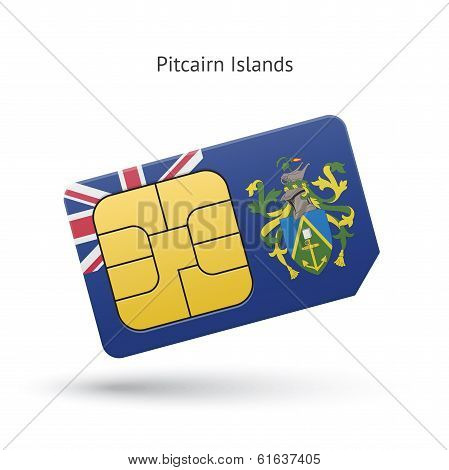 Pitcairn Islands mobile phone sim card with flag.