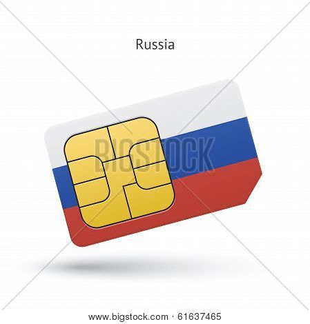Russia mobile phone sim card with flag.
