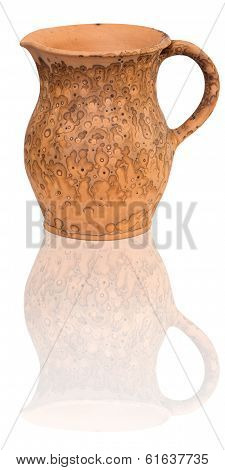 Traditional Clay Jug Isolated On White