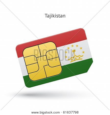 Tajikistan mobile phone sim card with flag.