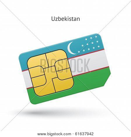 Uzbekistan mobile phone sim card with flag.