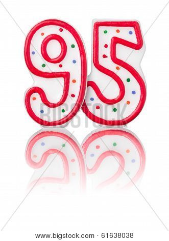 Red number 95 with reflection on a white background