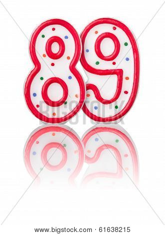 Red number 89 with reflection on a white background