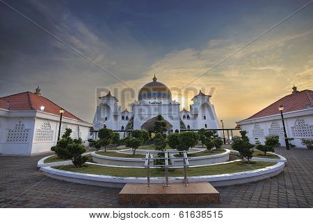Malacca Straits Mosque Front Entrance