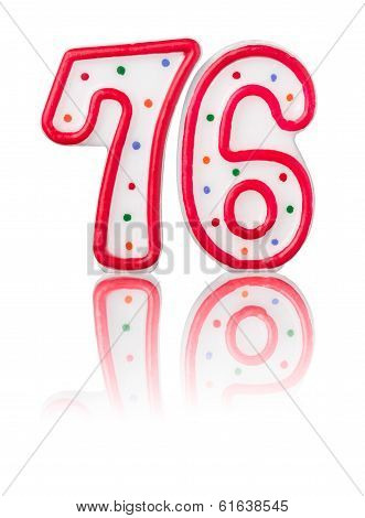 Red number 76 with reflection on a white background