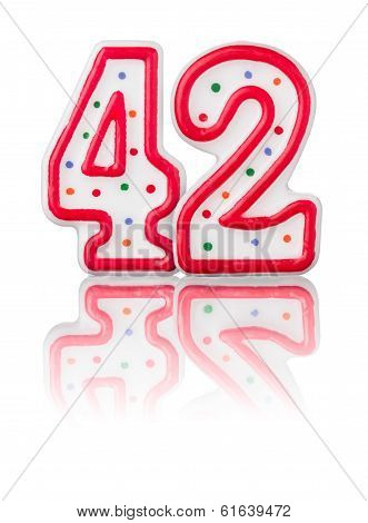 Red number 42 with reflection on a white background