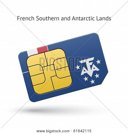 French Southern and Antarctic Lands phone sim card with flag.