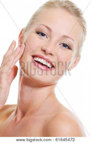 Portrait of pretty beautiful woman with healthy clear skin - over white