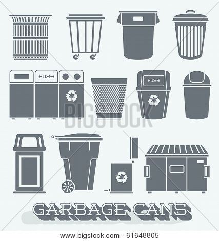 Vector Set: Garbage Cans and Recycling Bins