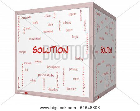 Solution Word Cloud Concept On A 3D Cube Whiteboard