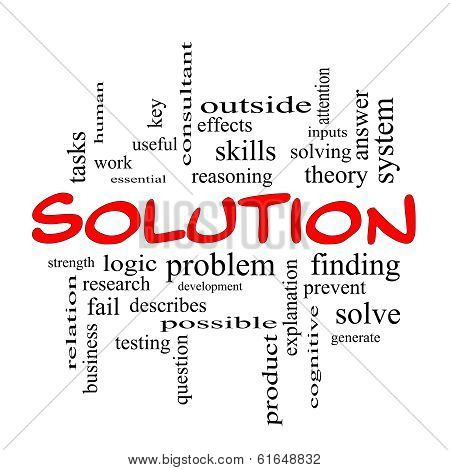 Solution Word Cloud Concept In Red Caps
