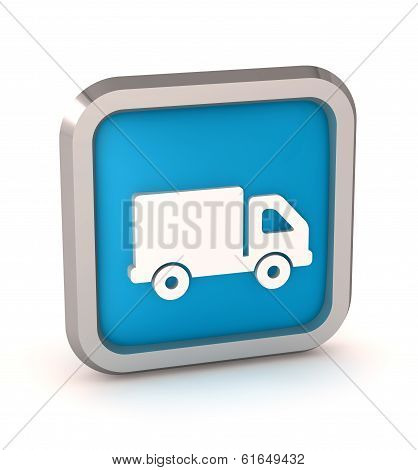 Blue Truck Icon Button On A White Background