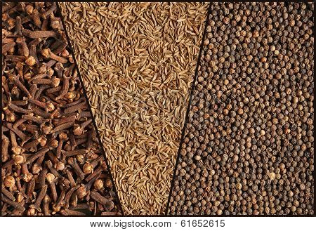 Spices collage. Close-up.