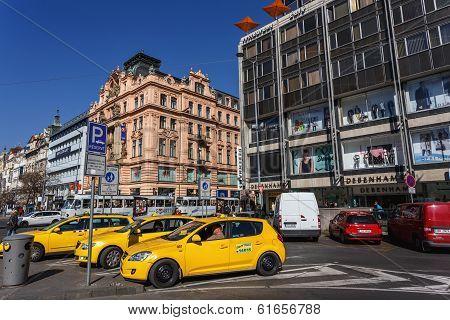 Taxi On Wenceslas Square, Prague, Czech Republic