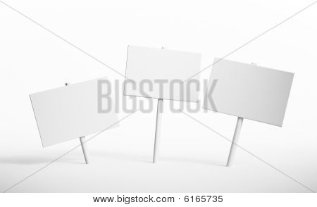 Three isolated blank signs on a white surface