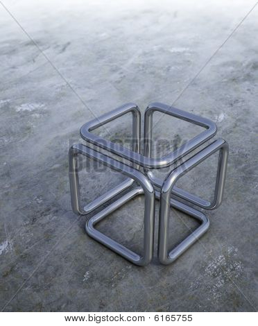 3d illustration of a metal abstract cube
