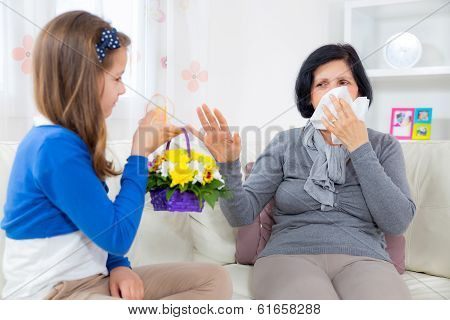 Cute girl giving a bunch of flowers to her grandmother. Grandmother has an allergy to flowers.