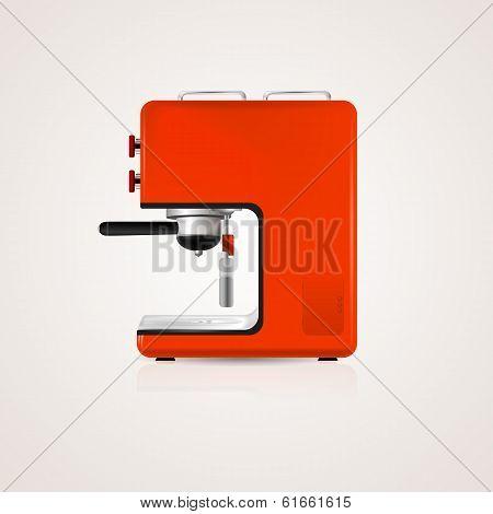 Illustration of red coffee machine
