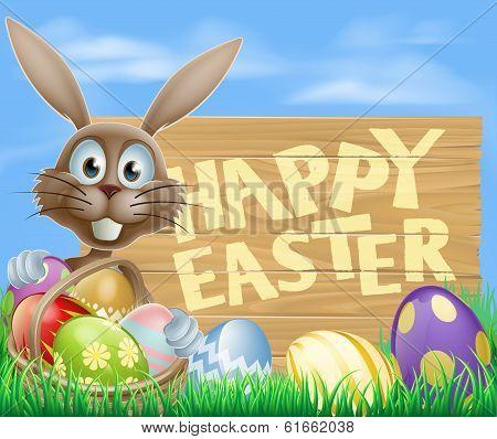 Happy Easter Eggs Basket Bunny