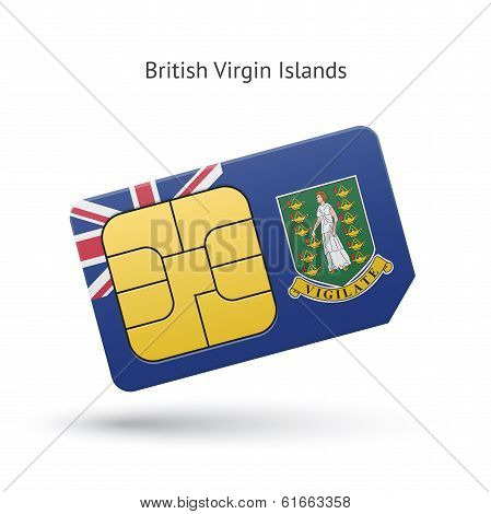 British Virgin Islands phone sim card with flag.