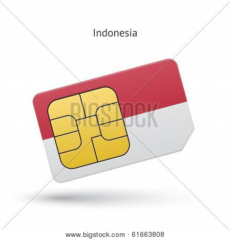 Indonesia mobile phone sim card with flag.