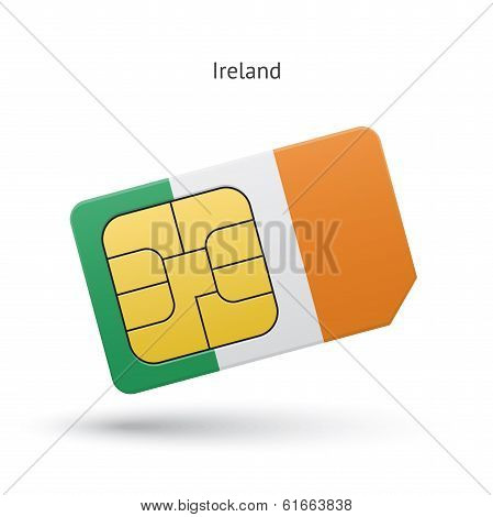Ireland mobile phone sim card with flag.