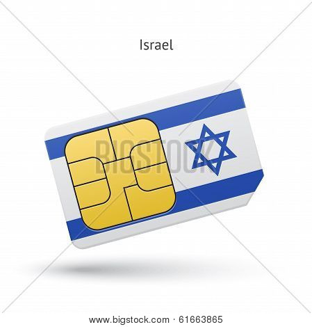 Israel mobile phone sim card with flag.