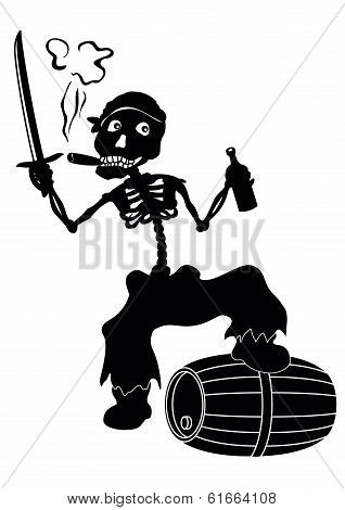 Jolly Roger skeleton, black silhouettes