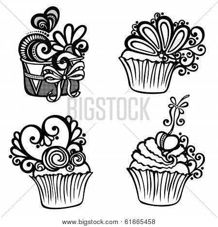 Vector Set of Ornate Cakes