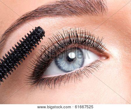 Female eye with long false eyelashes and makeup brush - over white background