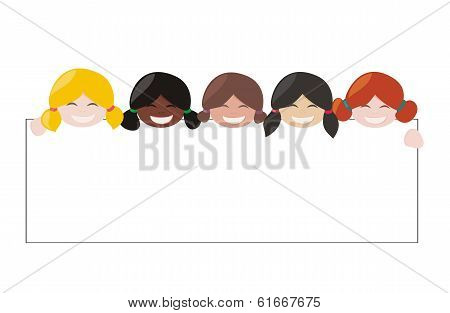 Vector multicultural girls with white empty banner. Blond, brown and black hair hostess smiling