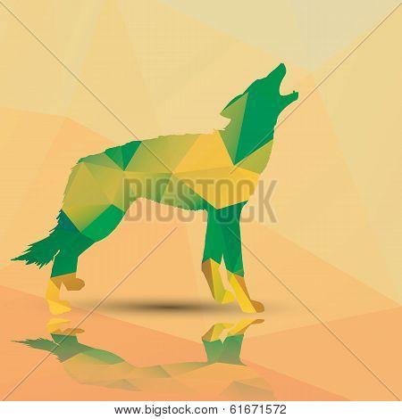 Geometric polygonal wolf, pattern design, vector illustration