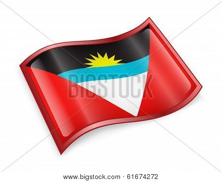 Antigua And Barbuda Flag Icon, Isolated On White Background.