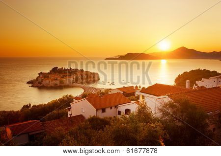 Sveti Stefan Island in Montenegro at Adriatic Sea