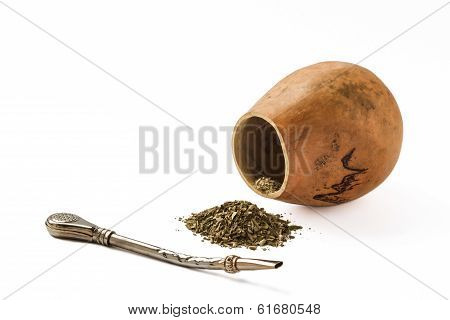 mate tea and calabash with bombilla isolated on white background
