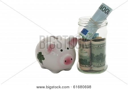 Money jar and a piggy bank