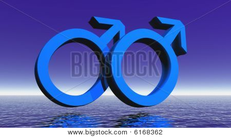 Gay men couple upon ocean