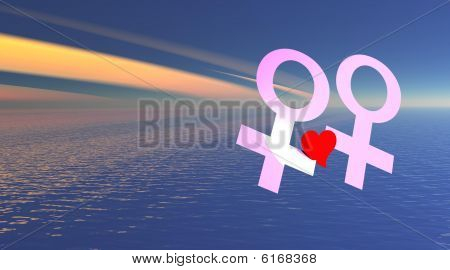 Lesbian couple holding red heart over the sea