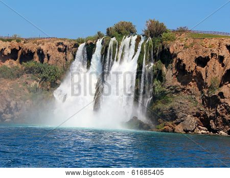Waterfall and sea