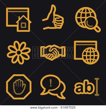 Internet web icons, gold line set