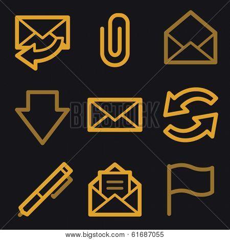 E-mail web icons, gold line set