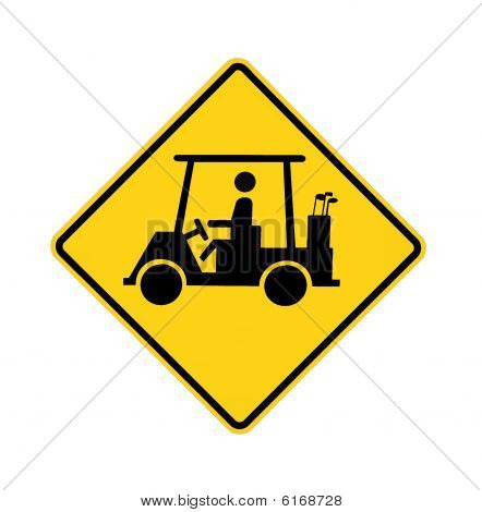 road sign - golf cart crossing