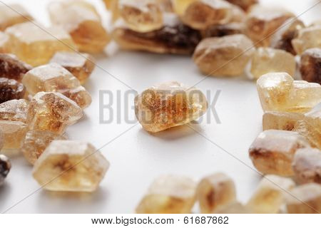 Crystals of Candi sugar / Rock sugar. Short depth-of-field.
