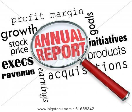Annual Report Words Magnifying Glass Study Research Business Finances
