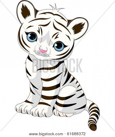 A cute character of sitting white tiger cub. Raster version.